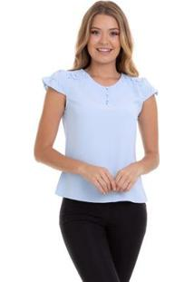 Blusa Kinara Crepe Botão No Ombro Feminina - Feminino-Azul