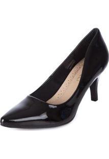 Scarpin Mooncity Verniz Salto Medio Sapato Bico Fino - Feminino-Preto