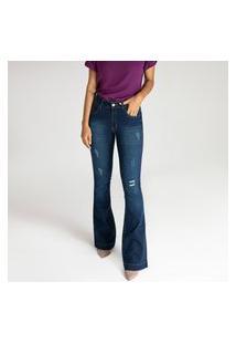 Calça Jeans Microflare Destroyed - Leiden - Santé Denim