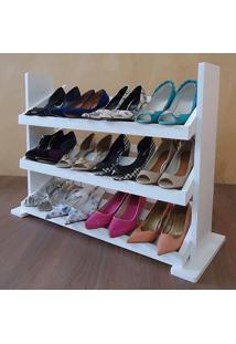 Sapateira De Piso Para Closets E Quartos 12 Pares Sapatos - Branco Laca