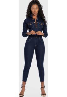 Macacão Feminino Jeans Botões Manga Longa Biotipo