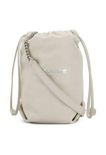 Saint Laurent Bolsa Teddy Com Corrente - Branco