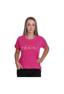 Bella Isa - Camiseta T Shirt Feminina Wild And Free Pink - Bi4004-Pk