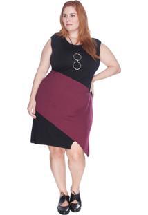 Vestido Regata Bicolor Bold Plus Size Vinho