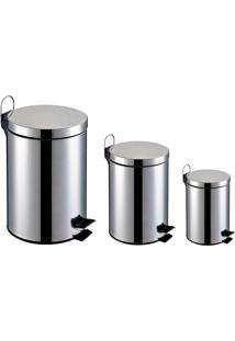 Lixeira Inox - Kit 3 Peças Capacidade De 3L ,5L E 12L,Balde Interno Removível-Elevação Com Pedal Emborrachado E Alça Externa - Home&Garden