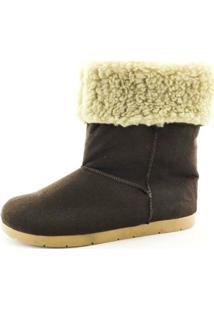 Bota Camurça Quality Shoes Forrada Lã Feminino - Feminino-Marrom