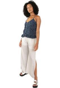 Blusa Alcinha Com Botão Side B Feminina - Feminino-Azul