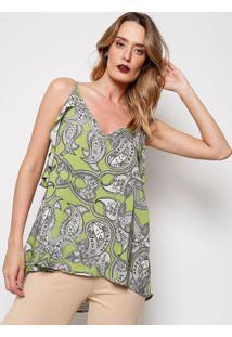 Blusa Arabescos - Verde & Branca - Ahaaha