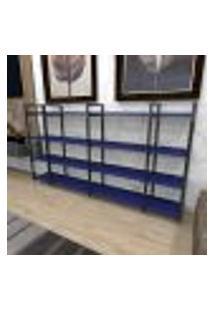 Aparador Industrial Aço Cor Preto 180X30X98Cm (C)X(L)X(A) Cor Mdf Azul Modelo Ind57Azapr