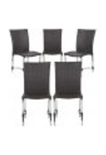 Cadeiras 5Un Para Area Varanda Fibra Sintetica Sala Cozinha Jardim Sacada Florida - Tabaco