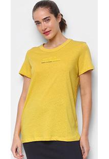 Camiseta Colcci Earth Feminina - Feminino-Amarelo+Marrom