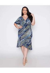 Vestido Almaria Plus Size Pianeta Estampado Azul Marinho/Verde Azul