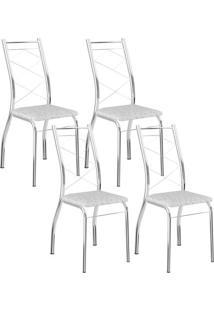 Cadeira 1710 Cromada 04 Unidades Fantasia Branco Carraro
