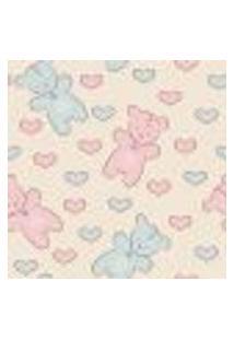 Papel De Parede Adesivo - Ursos Azuis E Rosas - 040Ppb