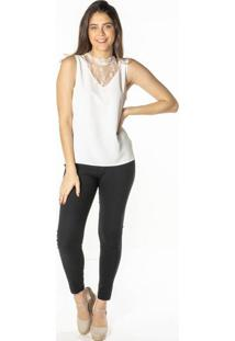 Blusa Lisa Com Renda - Off Whitedwz