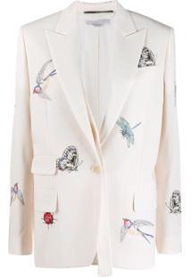 Stella Mccartney Blazer Com Bordado De Insetos - Branco