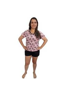 Pijama Feminino Baby Doll Camiseta E Short Estampa Panda Rosa