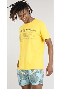 "Camiseta Masculina Carnaval ""Carnavrau"" Manga Curta Gola Careca Amarela"