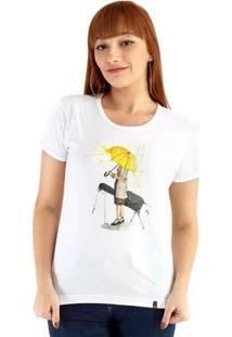 Baby Look Ouroboros Manga Curta Yellow Umbrella - Feminino-Branco