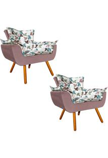 Kit 02 Poltrona Decorativa Opala Composê Estampado Floral D68 E Peach Rose - D'Rossi