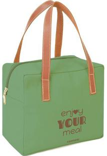 "Bolsa Tã©Rmica ""Enjoy Your Meal""- Verde & Marrom Claro"