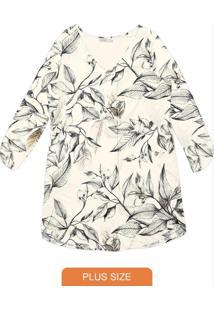 Vestido Feminino Floral Bege