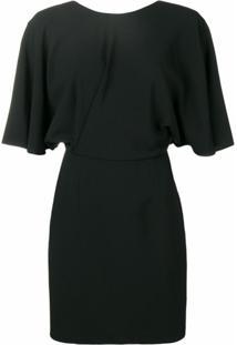 Saint Laurent Vestido Slim Com Decote Nas Costas - Preto
