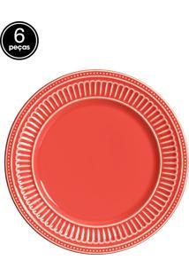 Conjunto 6 Pratos Sobremesa Em Poppy Coral Scalla