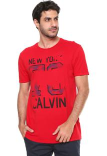 Camiseta Calvin Klein Jeans Estampada Vermelha