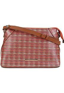 Bolsa Couro Jorge Bischoff Mini Bag Xadrez Feminina - Feminino-Laranja+Marrom