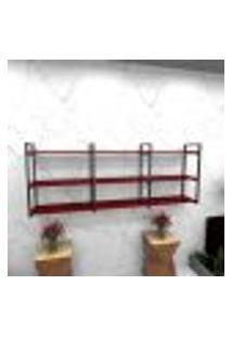 Estante Estilo Industrial Sala Aço Cor Preto 180X30X68Cm Cxlxa Cor Mdf Vermelho Modelo Ind35Vrsl