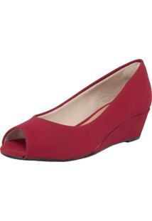 Peep Toe Dafiti Shoes Anabela Vinho