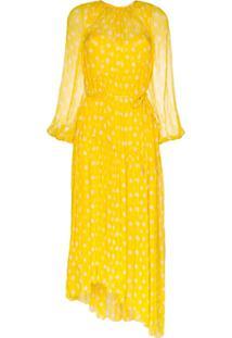 Zimmermann Vestido De Seda Brightside Swing Com Poás - Amarelo
