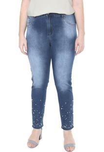 Calã§A Jeans Saint Yves Cigarrete Plus Size Da Mix Jeans Azul - Azul - Feminino - Dafiti