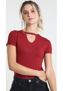 Blusa Feminina Choker Básica Manga Curta Decote Redondo Vermelha Escuro