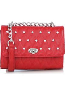 Bolsa Pequena Matelassê E Tachas Vermelha