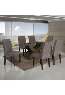 Conjunto Mesa Olimpia New 1,80X0,90M 6 Cadeiras Linho Cinza - 7337.39.7.4 Leifer