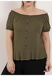 Blusa Ciganinha Plus Size Feminina Autentique Verde