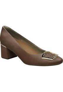 Sapato Tradicional Em Couro Com Fivela- Marrom & Douradousaflex