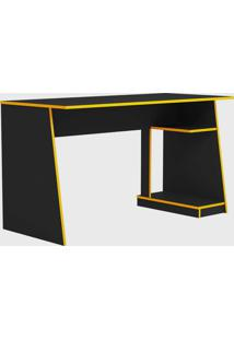 Mesa Gamer Tank Preta Com Bordas Amarela - Amarelo - Dafiti