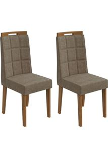 Conjunto De Cadeiras De Jantar 2 Nevada Veludo Rovere E Marrom