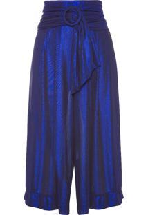 Calça Feminina Pantacourt Gold Com Cinto - Azul