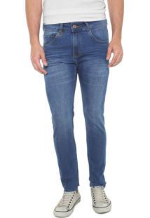 Calça Jeans Rock&Soda Slim Estonada Azul