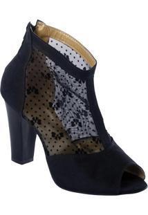 Ankle Boot Com Detalhe De Renda Preto