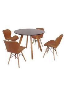 Mesa Inês 100Cm Preta + 4 Cadeiras Eiffel Slim - Marrom