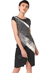 Vestido Desigual Curto Mojaves Preto/Cinza