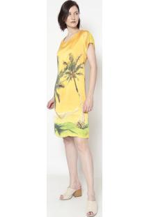 Vestido Folhagem Com Renda- Amarelo & Verde- Cotton Cotton Colors Extra