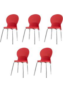 Kit 5 Cadeiras Luna Assento Vermelho Base Cromada - 57707 - Sun House