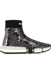 Diesel Ankle Boot Com Paetês - Preto