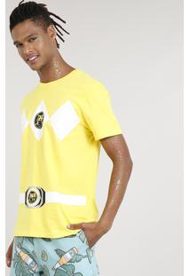 Camiseta Masculina Carnaval Power Ranger Amarela
